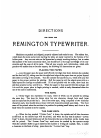 Remington Business series Typewriter Directions for using (9 pages)