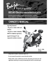 Baja motorsports BE500 Bicycle Owner's manual (29 pages)